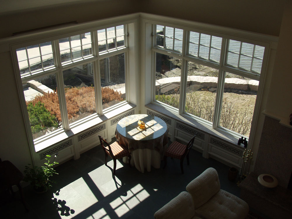 View to living room from upper suite