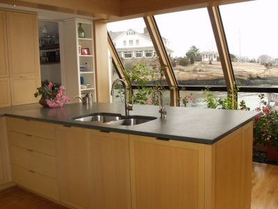 View through greenhouse to Sound