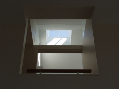 View to upper suite and cupola from living room