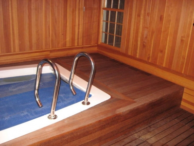 Exercise pool set in mahogany deck and fir lined walls